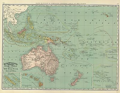 1894 Map of Oceania and Malaysia-folio size