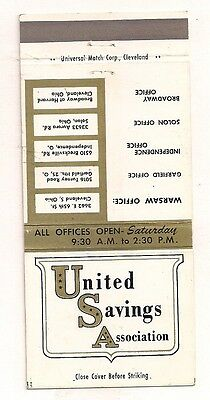 United Savings Assn Cleveland OH Solon Independence Garfield Heights Matchcover