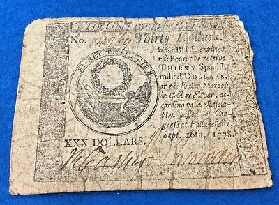 1778 $30 Colonial Currency ~ VG/Fine