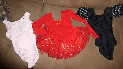 Lot of 3 Toddler XS Age 2-4 Dance Gymnastics Leotards all in VGUC