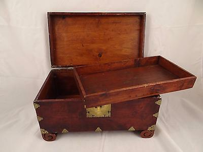 Vintage Indian Rosewood Wooden Case Box With Brass Inlay, Lock & Key