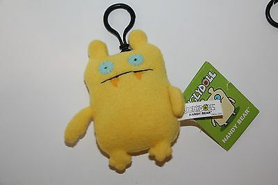 Gund UGLY DOLL KEYCHAIN NANDY BEAR YELLOW NEW WITH TAGS clip on PLUSH KEYCHAIN