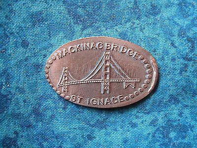 MACKINAC BRIDGE ST IGNACE MICHIGAN Elongated Penny Pressed Smashed 12