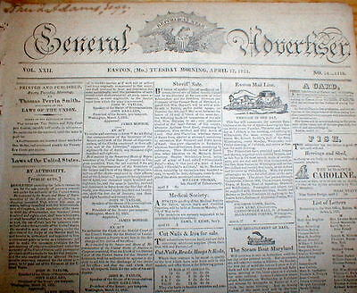 Orig 1821 EASTON Maryland Eastern Shore newspaper Owned by JOHN QUINCY ADAMS