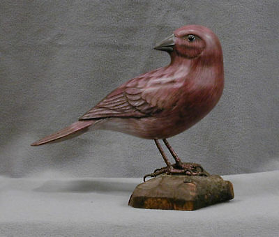 Hand Carved Wooden State Bird of New Hampshire Purple Finch
