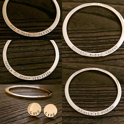 Stainless Steel Personalised Hand Stamped Thick Bangle Stamped Both Sides