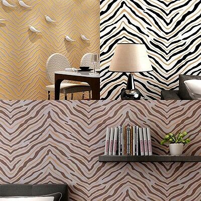 1 Roll 10m Striped Non-woven/Flocking Classic Plain Wallpaper Home Room Decor