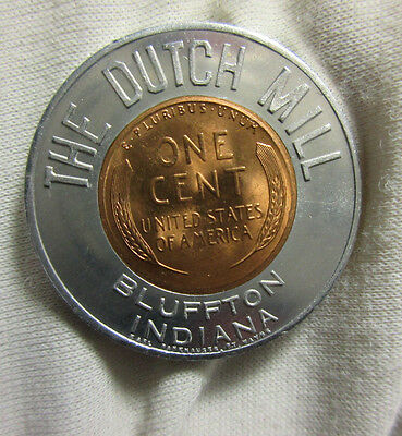 Bluffton In Indiana The Dutch Mill ( Restaurant) 1955 D Encased Wheat Cent Penny