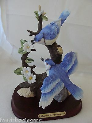 "Vintage Westminster Blue Jay 8"" 2 Piece Bird Sculpture-Porcelain Bisque-Signed"