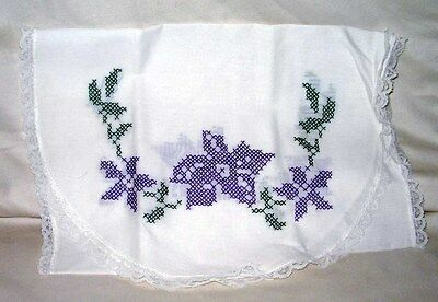 "#10 Vintage 42"" x 14 1/2 "" Hand Embroidered Purple Flowers Lace Edge Never Used"
