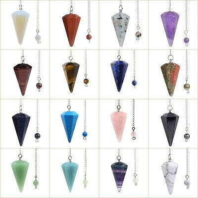 "37mm Faceted gemstone crystal healing point chakra hexagonal pendulum 6"" Chain"