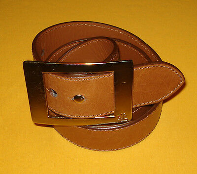 Women's Lauren Ralph Lauren Dark Tan Genuine Leather Belt Size L.