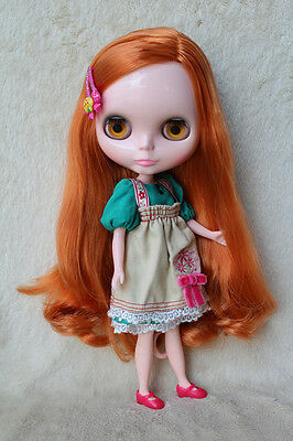 """12"""" Takara Neo Blythe Dolls from Factory Nude Dolls Apricot Red Long Curly Hair"""