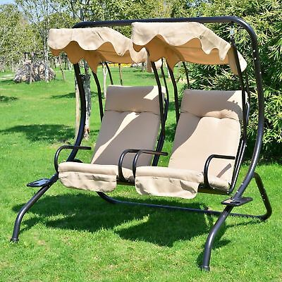 Outsunny Luxury Metal Swing Chair 2 Separated Seater W/ Canopy & Cushions Beige