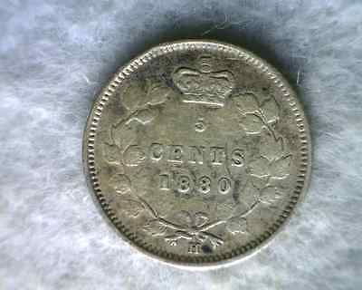 CANADA 5 CENTS 1880 H SILVER COIN (stock# 0060)
