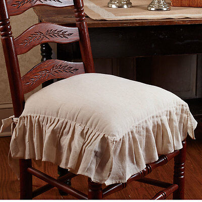 Flax Ruffled French Country Chair Pad