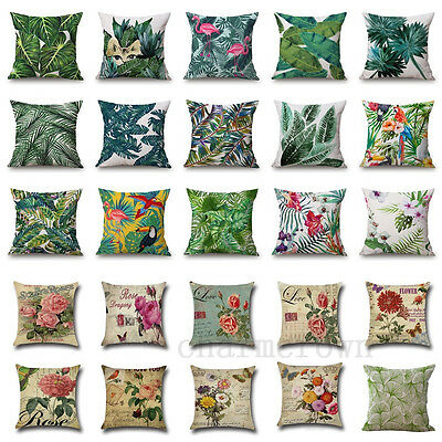 Trendy Tropical Plant leaves Pillow Case Cotton Linen Cushion Cover Home Decor