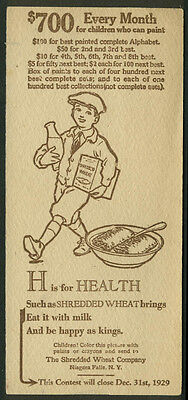 Nabisco Shredded Wheat Painted Alphabet Contest Card H is for Health 1929