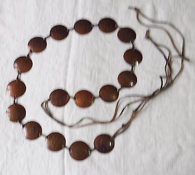 Anglo Saxon Style Vintage Belt Copper Etched Metal Discs With Leather Thongs