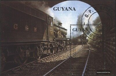 Guyana block92 (complete.issue.) fine used / cancelled 1990 Steam locomotives
