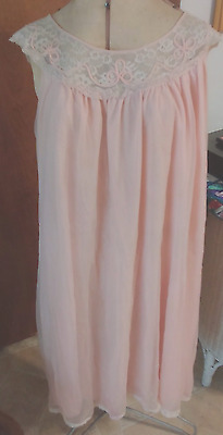 1950s Lingerie Nightie Nightgown Peach Pink Sheer over Nylon w/Lace Large L