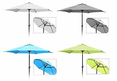 Top Quality 2.7M Round Garden Umbrella Garden Parasol Sun Shade Crank Handle