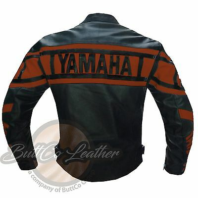 YAMAHA 0120 Motorbike Armour Motorcycle Biker Racing REAL Orange Leather Jacket