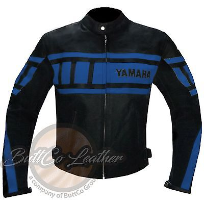 YAMAHA 0120 New Sky Blue Cowhide Motorcycle Biker Racing Genuine Leather Jacket