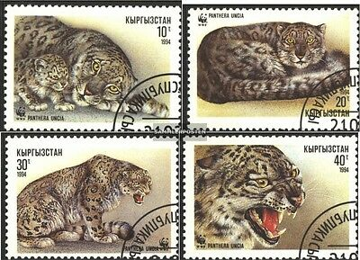 Kirgisistan 22-25 (complete.issue.) fine used / cancelled 1994 snow leopard