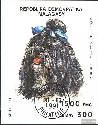 Madagascar block157 (complete.issue.) fine used / cancelled 1991 Dogs