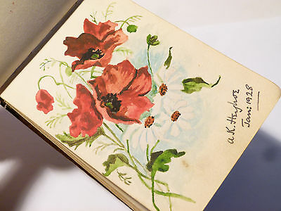 Antique Art Deco Autograph Book, Mary Goddard 1928 Pictures & Verse