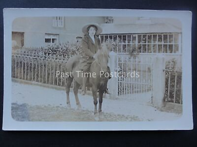FLINT North Wales YOUNG LADY ON A PONY early c1905 RP Postcard by Geo Backhouse
