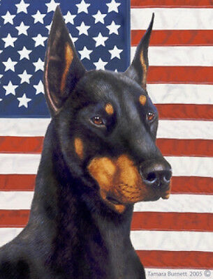 Large Indoor/Outdoor Patriotic II Flag - Black & Tan Doberman Pinscher 32015