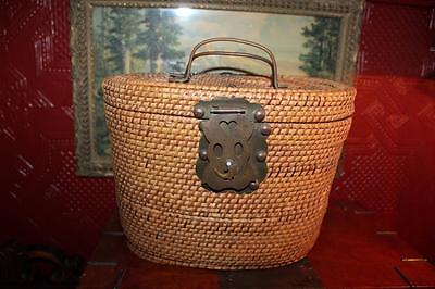 Vtg Chinese Wicker Tea Pot Holder Caddy Carrier Basket Brass Handles & Hardware