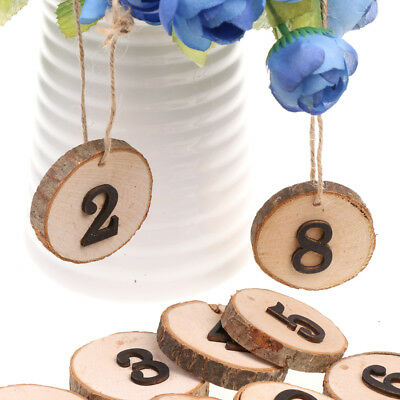 Rustic Slice Table Numbers Wedding Hanging Wooden Table Numbers 1-10 w/ Rope