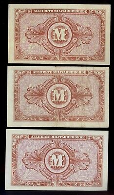 Germany 3 x 1944 Allied Military 10 Mark Notes P-194b