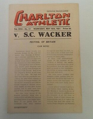Charlton v SC Wacker  ** Festival of Britain ** 1951