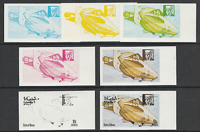 Oman 3086 - 1977 AIRSHIPS 10b set of 7 PROGRESSIVE PROOFS unmounted mint