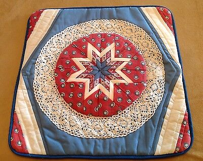 Vintage Patchwork Quilt, Star, Medium Blue, Red Calico And White, Lace