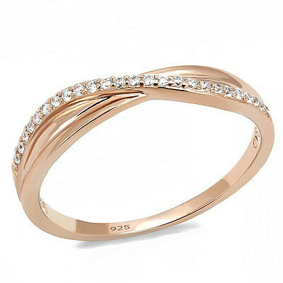 Sterling Silver Anniversary Wedding Band Ring Rose Gold Plated CZ Infinity Style