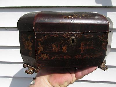 Antique Chinese Gold Gilt Lacquer Box  Tea Caddy
