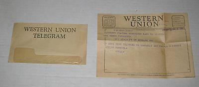 VINTAGE Oct. 28th, 1954 WESTERN UNION TELEGRAM in New York