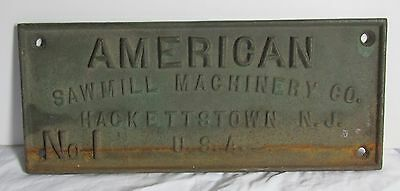 Cast Iron Plaque American Sawmill Machinery Industrial / agricultural machinery