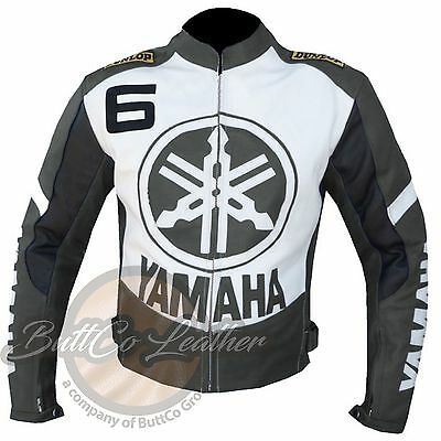 NEW YAMAHA 6 Riding Motorcycle Clothing GREY ButtCo Leather BIKER Jacket ONLINE