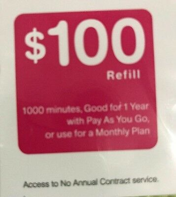 T-Mobile $100 Prepaid Refill Card brand new unscratched