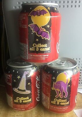 2002 Set of 3 Coca-Cola Halloween 8 Ounce EMPTY Can