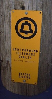 Vintage Metal Telephone Pole Sign Underground Telephone Cables