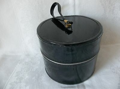 Vintage Small Hat/wig Box  Black Round With Loop Handle