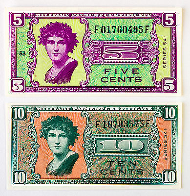 Set of 2 USMPC Series 541 5 cents AU and 10 cents vf+