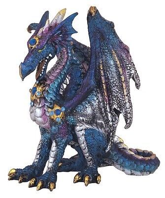 Blue Dragon with Gems Medieval Fantasy Figurine Sculpture Statue Decoration New